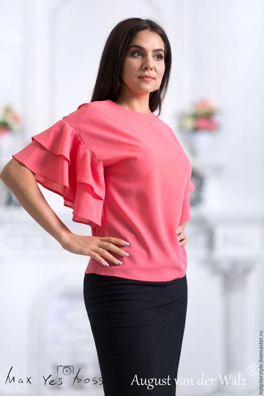 Блузка летняя , с очаровательными рукавами Chloe. Лёгкая летняя блузка топ с прекраснейшими рукавами. Ручная работа. Сделано в Петербурге.