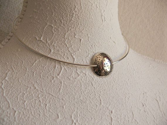 Sterling silver necklace neck ring with sterling silver pendant, by Evesbeads, $50.00