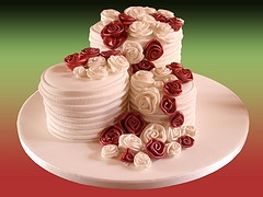 Cake with Fabric Roses by A Matter of Taste