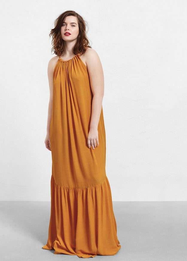Vestido largo lila mango