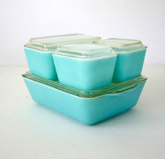 vintage pyrex refrigerator set. Any color will do.