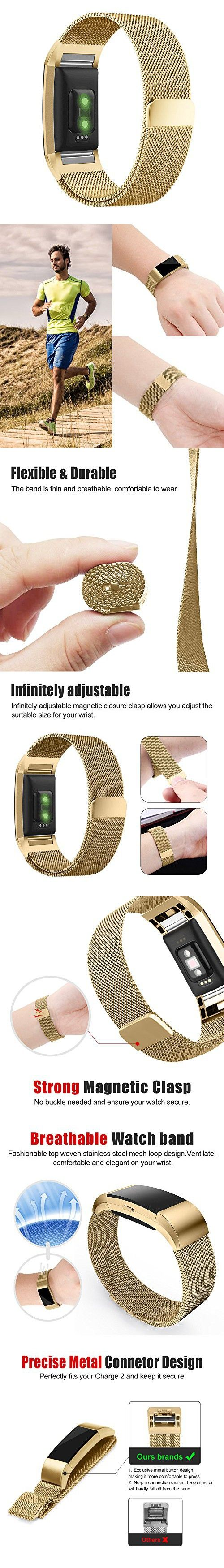 Fitbit Charge 2 Band, UMTELE Milanese Loop Stainless Steel Metal Bracelet Strap with Unique Magnet Lock, No Buckle Needed for Fitbit Charge 2 HR Fitness Tracker Gold Large