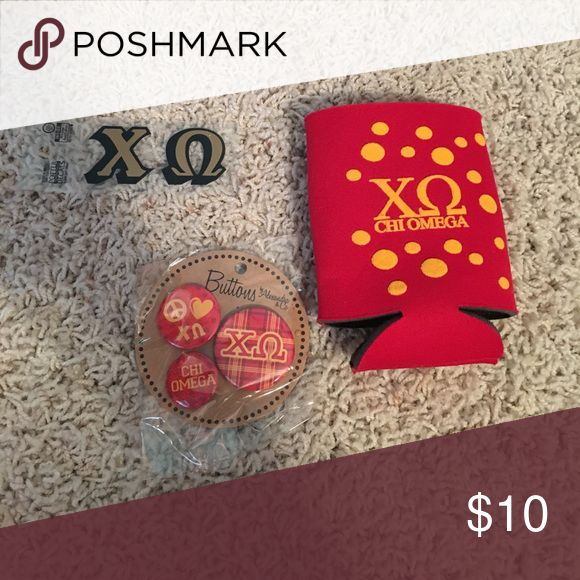 Bundle! Car decal, Chi Omega Koozie, and Chi omega pins! chi omega Other
