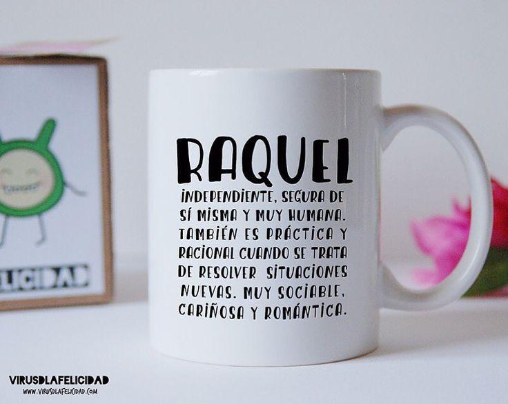 Tazas personalizadas con tu nombre y su significado! Pídenoslo en http://ift.tt/1n71PmC  #virusdlafelicidad #taza #nombre #tunombre #tazapersonalizada #raquel