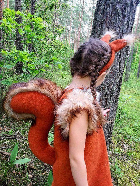 Squirrel girl costume/ Kids squirrel Costume/ squirrel dress up/ girl costume/ animal costume/ handmade costume / Halloween costume