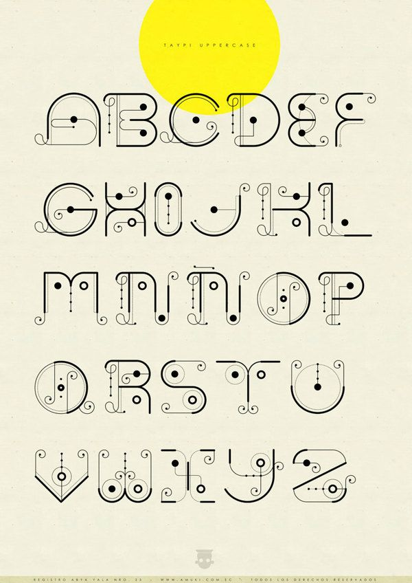 Registro Abya Yala Nro. 23: Tipografía Taypi by Vanessa Zúñiga, via Behance - Taypi Experimental uppercase alphabet. #typography #alphabet #design  Again, I love Vanessa's work. It's so interesting!