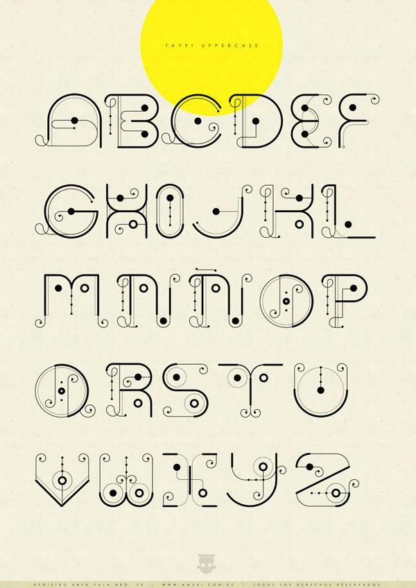 Registro Abya Yala Nro. 23: Tipografía Taypi by Vanessa Zúñiga, via Behance - Taypi Experimental uppercase alphabet. #typography #alphabet #design  Again, I love Vanessa's work. It's so interesting!