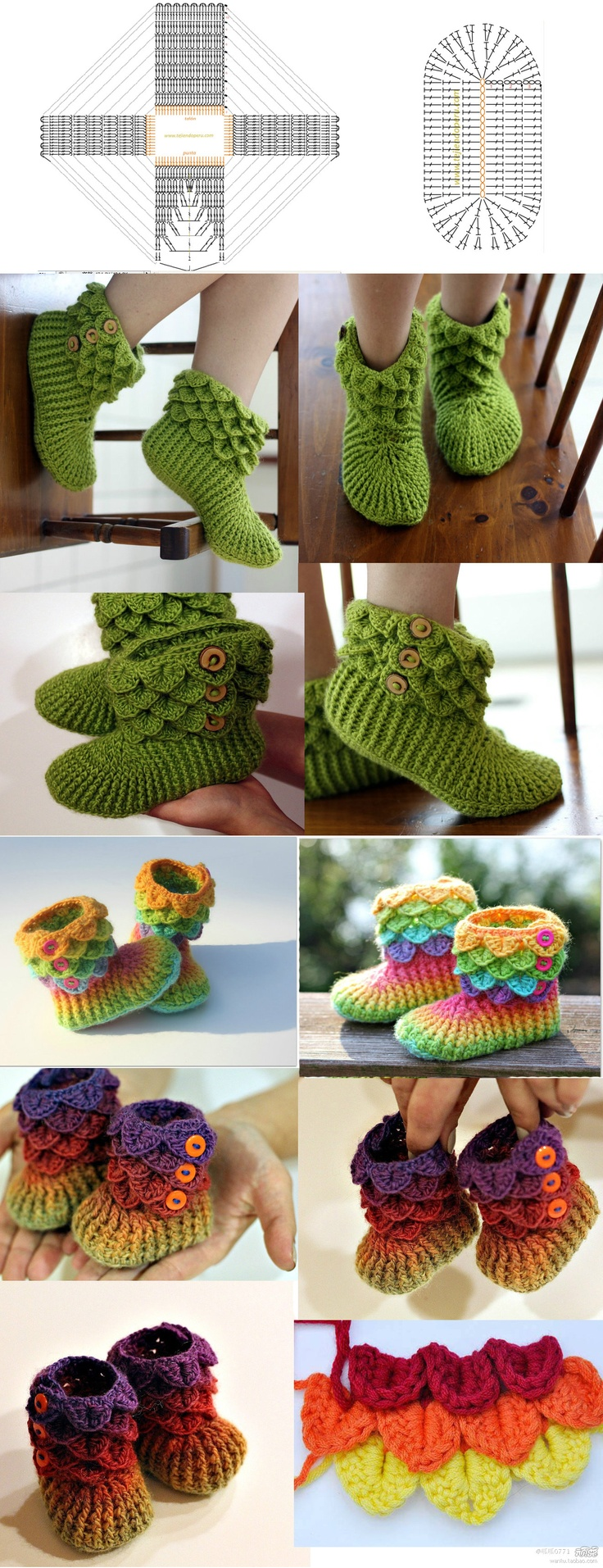 Crochet Booties Slippers Kid/Adult