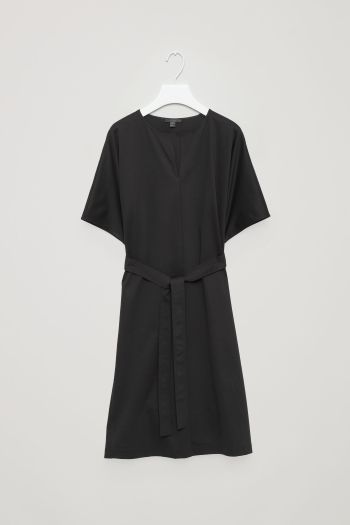 COS image 2 of Belted jersey dress in Black