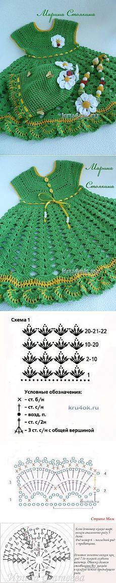 Set para chicas: vestido, sombrero y perlas - Crochet en kru4ok.ru