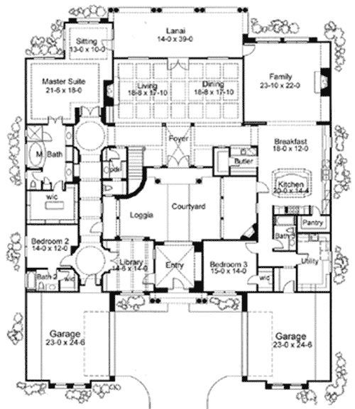 Home plans courtyard courtyard home plans corner for Hacienda style house plans with courtyard
