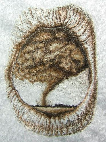Example of hairwork embroidery