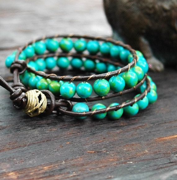 Capri Sea Blue Double Wrap Bracelet, Bracelet en cuir Double Wrap, Brown …   – jewelry on etsy