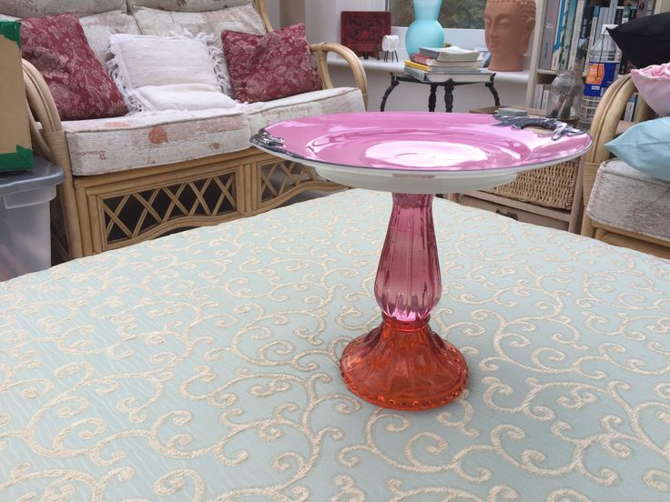 Shabby Chic shocking pink Cake stand, by Peppershells Vintage