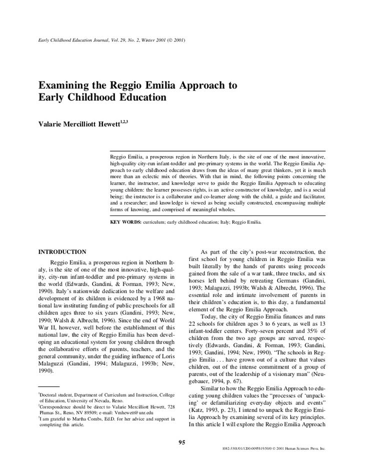 an overview of the reggio emilia approach in learning In a reggio emilia approach to preschool understanding the reggio emilia learning style reggio emilia schools typically employ a project-based approach where the lessons that are learned are based on the interests of the students.