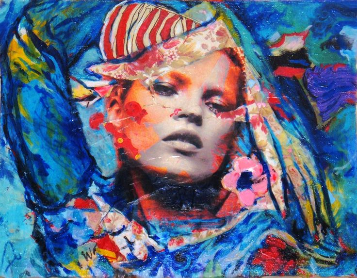 Micci Cohan, Kate Moss, Extension, Oil, acrylic & collage on canvas,18 x 24 inches