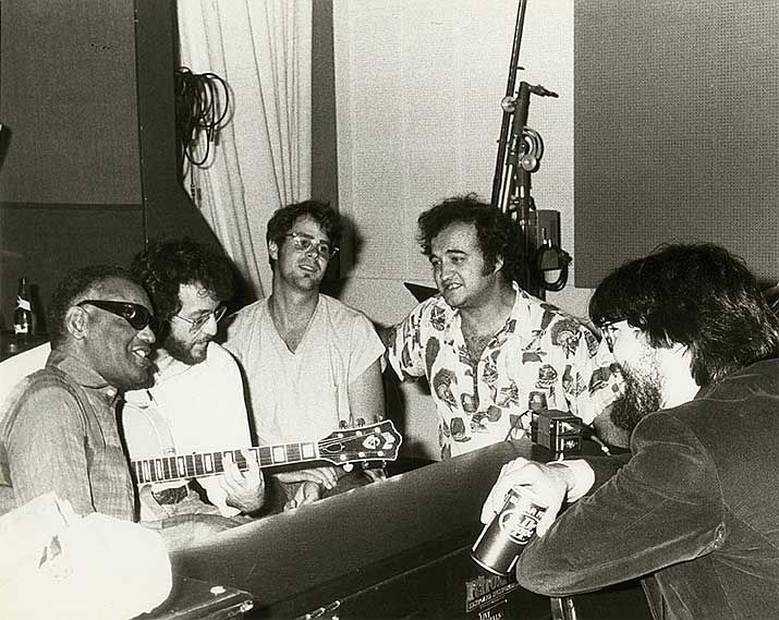 Ray Charles Dan Aykroyd John Belushi and John Landis on the set of The Blues Brothers | Rare and beautiful celebrity photos