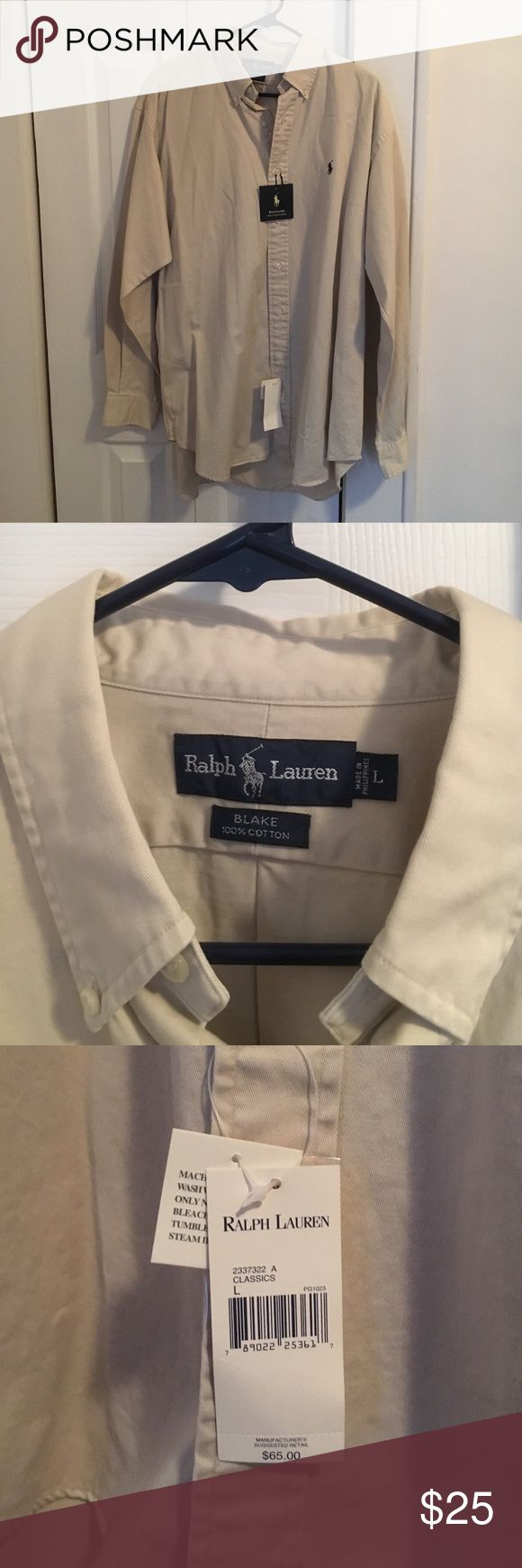 Large Men's Chino Shirt by Ralph Lauren This khaki colored shirt from Ralph Lauren is a size large button down. It is never been worn, in excellent condition, and still has the tags on it. Ralph Lauren Shirts Casual Button Down Shirts