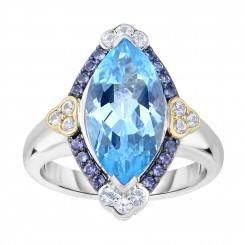 Sterling Silver and 18K Gold Blue Topaz, Iolite, and White Sapphire Ring