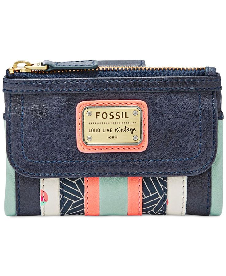 Fossil has modern boho style all stitched up with this patchwork multifunction wallet that secures cards, coins and cash in soft, supple leather with a great hand feel.   Leather; lining: polyester  