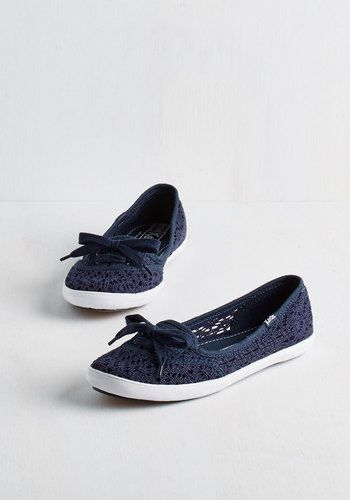 Takes One to Row One Flat in Navy by Keds - Flat, Woven, Blue, Solid, Crochet, Casual, Spring, Summer, Better, Lace Up, Variation, Nautical
