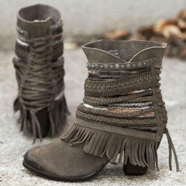 Naughty Monkey grey fringe boot