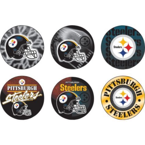 Pittsburgh Steelers Buttons 6ct - Party City