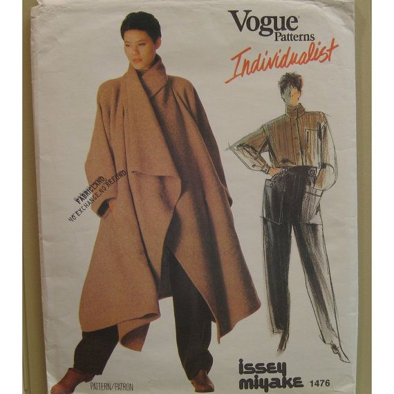 Issey Miyake Coat Pattern Drape Wide Sleeves Shirt by VogueVixens