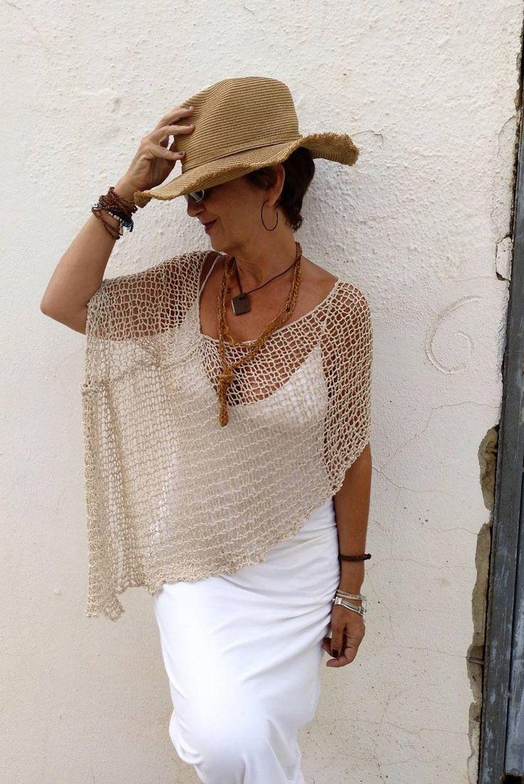 Boho Chic Kleidung Sommer Leinen und Seide Poncho rustikal | Etsy   – Sweaters
