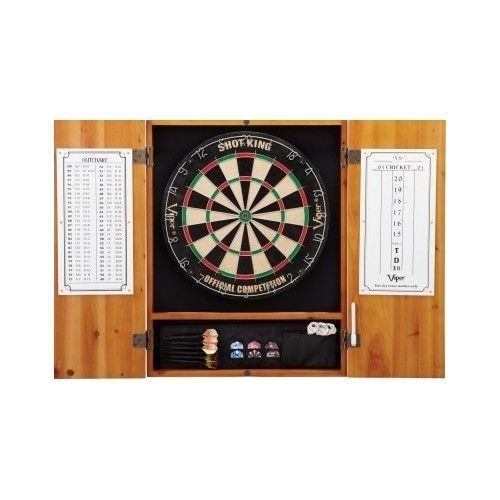 Dart Board Cabinet Bristle Oak Finish Dart Storage Indoor Game Room Equipment #Viper