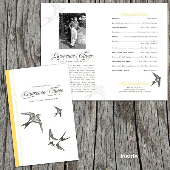 Soaring Sparrows Memorial / Funeral Program /  Bulletin by FoxDigitalDesign, $55.00
