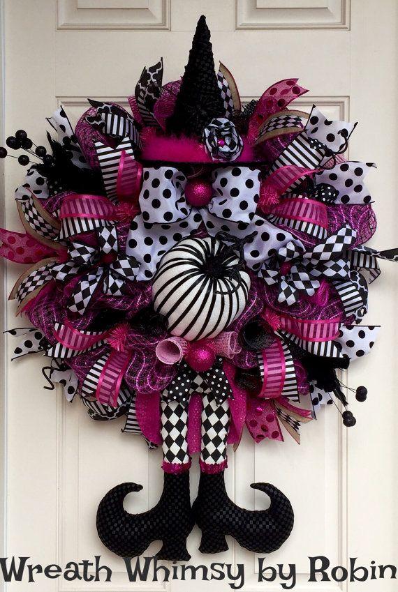 Halloween Pink & Black Deco Mesh Witch Wreath Fall Wreath XL