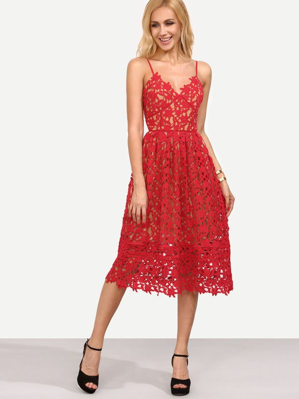 24d019ff5a1 Hollow Out Fit   Flare Lace Cami Dress -SheIn(Sheinside)