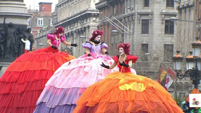 Some of the colourful costumes enjoyed by spectators in Dublin
