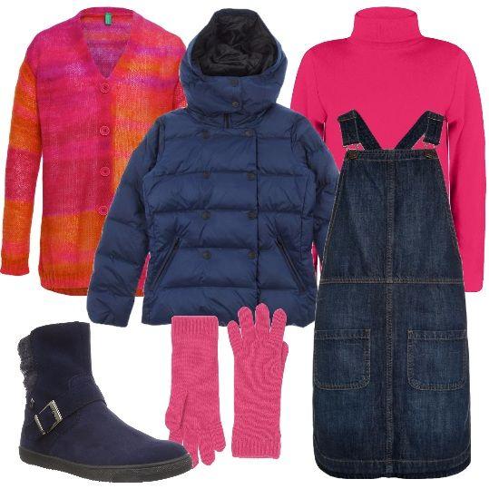 Una salopette di jeans è quello che serve ad una ragazzina. Abbinerà dolcevita fucsia, cardigan Benetton fucsia e arancione, per non avere freddo, lasciato sbottonato, giubbino imbottito, blu, a doppiopetto, con cappuccio removibile, stivaletti blu, in pelle e guanti fucsia.