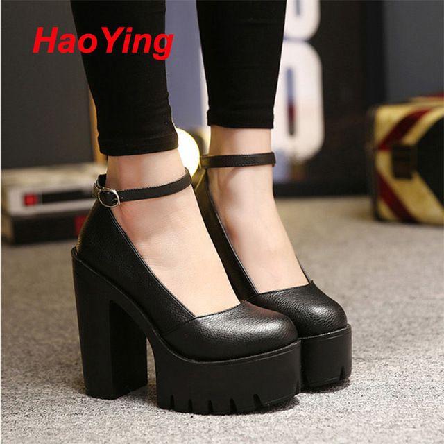 Boucle blanc noir talons printemps chaussures plate - forme talons 2016 chucky femmes talons hauts chaussures pour femmes punk femmes chaussures pompes D366