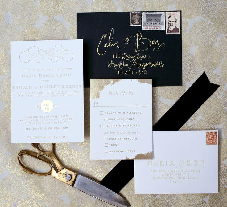 sending wedding invitations months before%0A gold foil letterpress custom designed wedding invitation