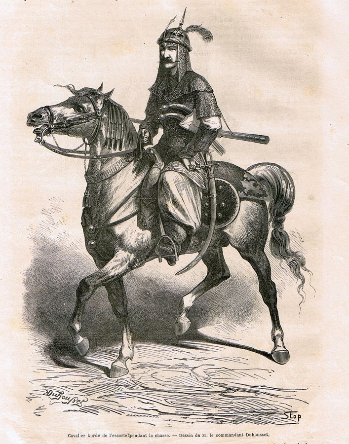 "Kurdish escort rider, from ""Le tour du monde: nouveau journal des voyages, Volume 3, by Édouard Charton Hachette, 1862. Drawing by Emile Duhousset, a commandant in the French army who was part of the French military mission to Persia in 1859-60. In Persia he was appointed as Master-of-Arms to the Shah, and made numerous drawings recording his experiences."