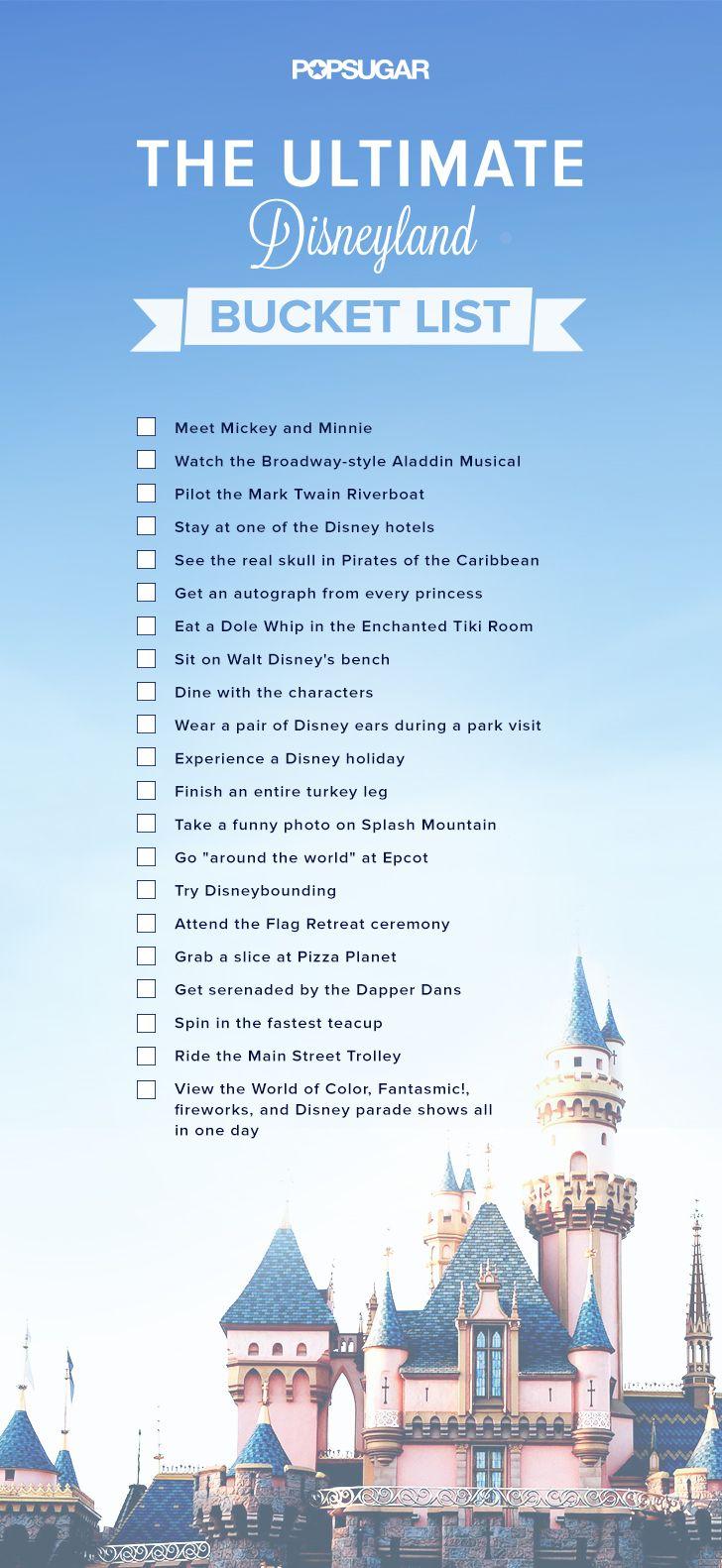 DisneyLand Bucket List