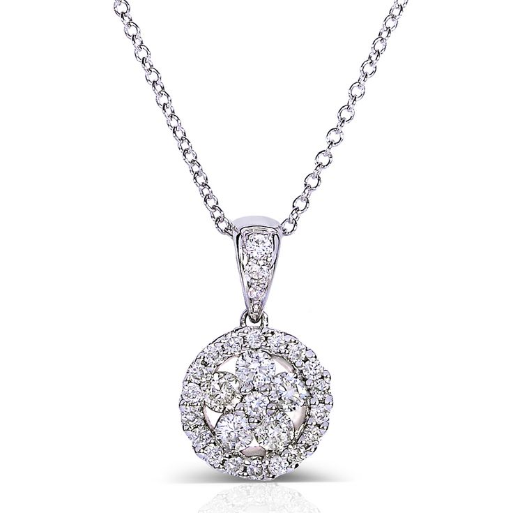 """Floral Round Diamond Cluster Pendant Necklace 1/2 Carat (ctw) in 10k White Gold (16"""" Chain)"""