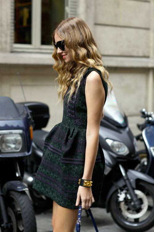 Fantastic green and blue pattern of the dress