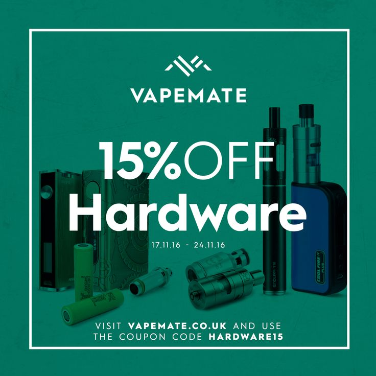 15% off all #vaping hardware until Nov. 21! Visit www.vapemate.co.uk and use coupon code HARDWARE15 at checkout.