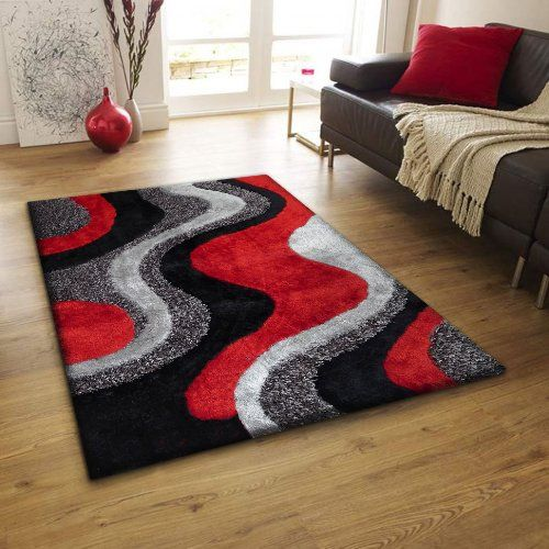 Hand Made Soft Touch Red Black Shag Home Decor Area Rug