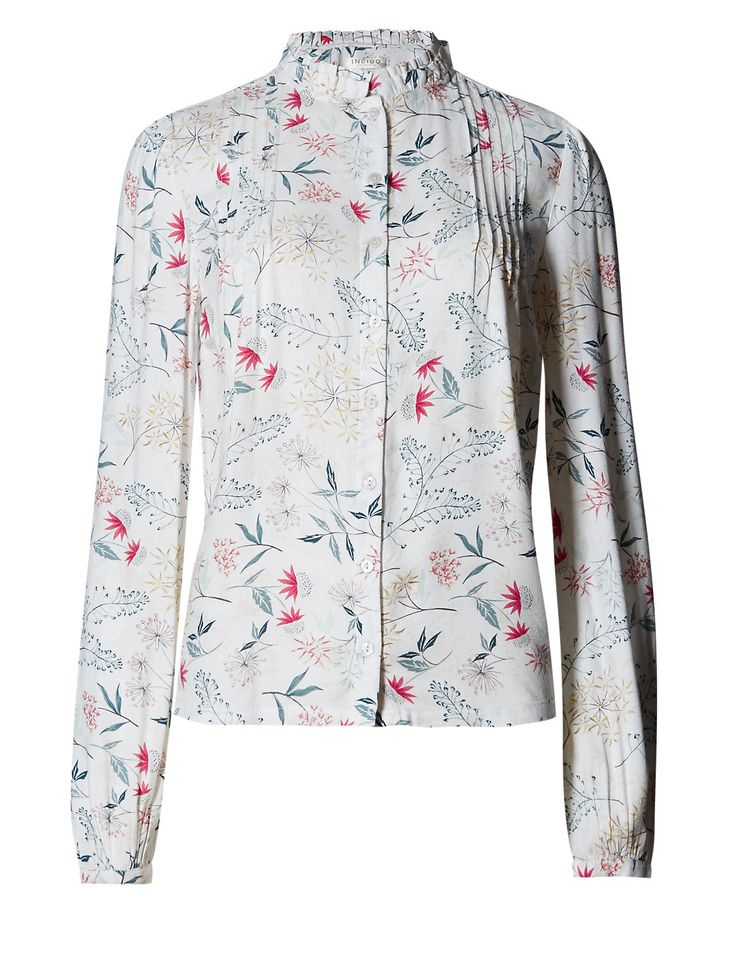 Abstract Print Edwardian Blouse with Buttonsafe™