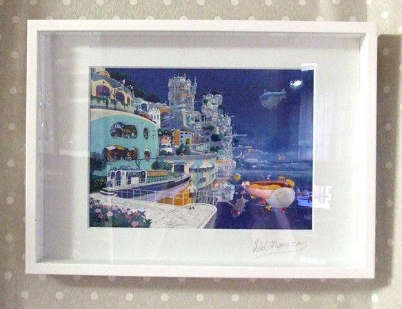 画家でるもなか 湘南乃夢シリーズ 題名:「ココアタウン、到着!」サイン有、A3(297×420mm) 種類:フォトアート技法:アクリルガッシュ額:...|ハンドメイド、手作り、手仕事品の通販・販売・購入ならCreema。