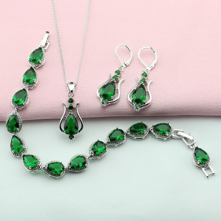 ASHLEY Green Stone Silver Plated Jewelry Sets For Women Bridal Jewelry Sets Bracelet Earrings Necklace Pendant Free Gift Box