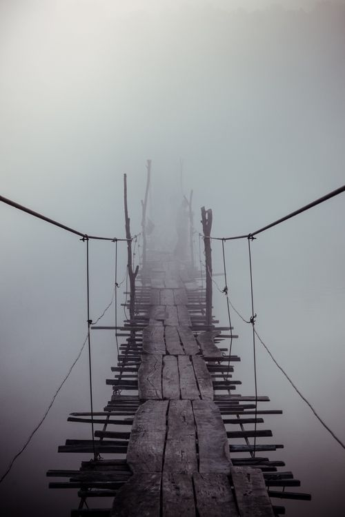 WRITING PROMPT: Would you walk on this bridge? How do you feel as you take the first step? Describe how those feeling take physical form with each approaching step. Use the five senses.
