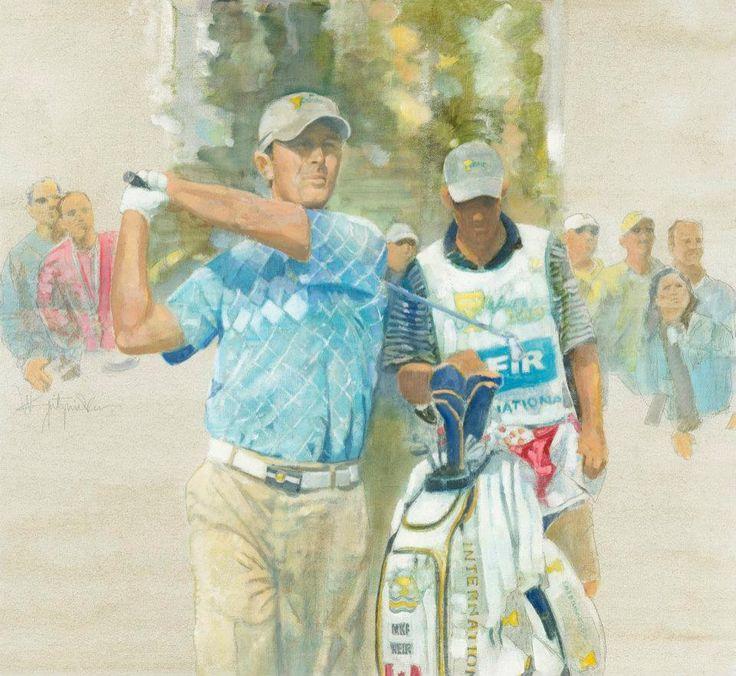 Walt Spitzmiller - Mike Weir 2009 President's Cup Original Oil on canvas