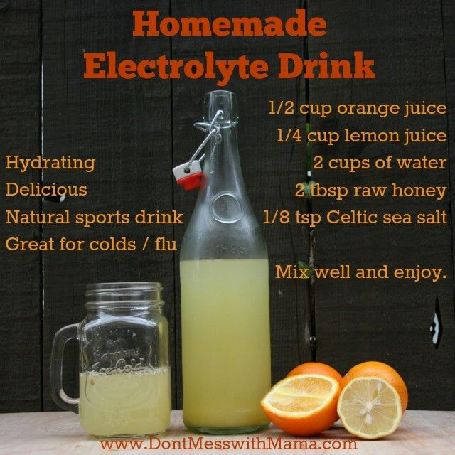 Bij griep en verkoudheid Homemade Electrolyte Drink - Natural Sports Drink #health #homemade #recipe - DontMesswithMama.com