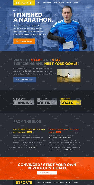 Esporte Fitness Club PSD Template by Mosaic Web Market on @creativemarket